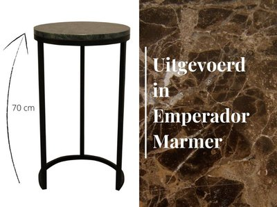 Duran Side Table Lucena Emperador Marmer Ø40 cm H70 cm