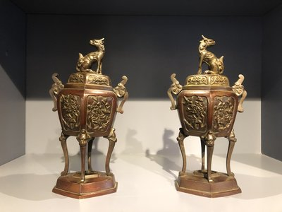 Antique Vases with Dragons Set of 2