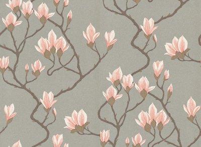 Magnolia Behang Grijs