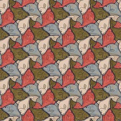 Escher Fish Behang