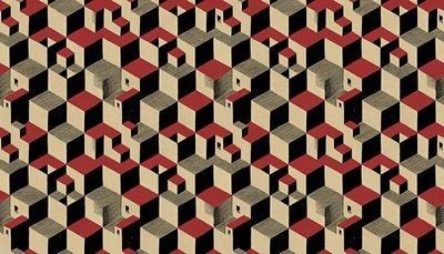 Escher Cube Behang