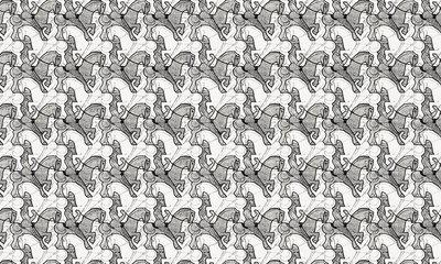 Escher Horseman Behang
